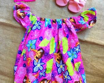 Free delivery,Dora,Dora the explorer,Dora romper,Baby Romper,Girl Romper princess,Dora disney romper,Pink shoes