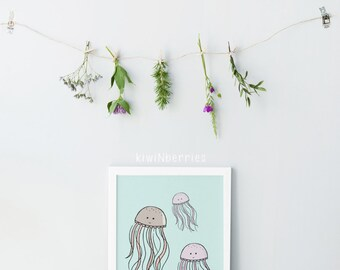 Jellyfish print - Ocean themed nursery - Ocean animal print - Sea nursery decor - Printable ocean art - Blue aquamarine- Sea creatures