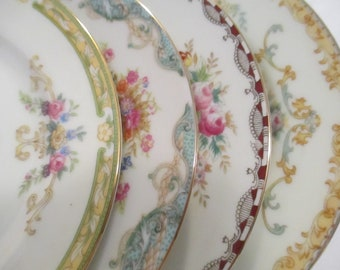Vintage Mismatched China Dessert Plates, Bread Plates for Tea Party,Weddings,Bridal Luncheons,Showers,Hostess Gift,Bridesmaid Gift-Set of 4