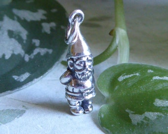 Garden Gnome Charm ~ Sterling Silver ~ 17.5mm X 6mm