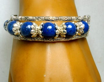 SALE, Tibetan Silver & Navy Bead Bracelet, Lobster Catch Closure, Price for One, But I Have 2 Today