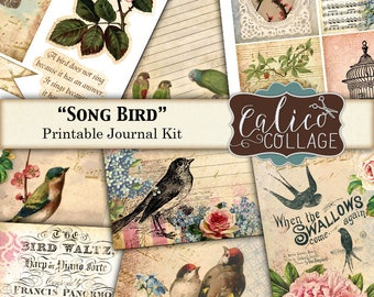 Printable, Journal Kit, Song Bird, Journal Pages, Printable Journal, Bird Journal, DIY Journal, Scrapbooking, Journaling, Journal Cards