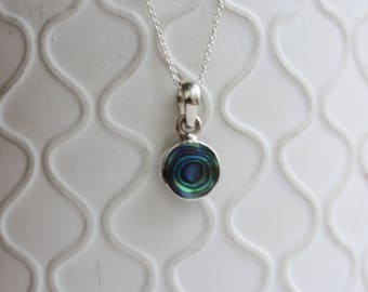 Abalone Shell Pendant / Trace Chain / Paua Shell / Small Round / Blue Shell Necklace / Sterling Silver /Blue and Green Shell / Natural Shell