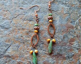 Boho dangle earrings - picasso glass earrings - turquoise green - creamy yellow - fancy statement earrings - lightweight - bohemian leaves