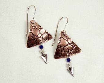 Snake Embossed Copper Triangle Earrings with Lapis and Deco Charm
