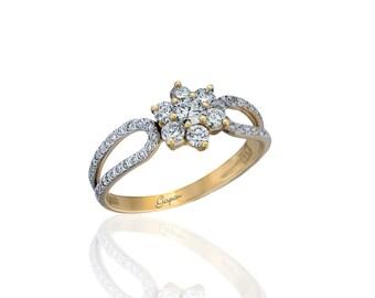 Flower Engagement Ring, Flower Diamond Ring, Art Deco Engagement Ring, Promise ring, Statement ring, anniversary ring, flower band ring