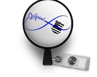 Infinity Thin Blue Line Girlfriend Retractable ID Badge Reel