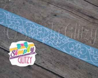 5 Yrds LIGHT BLUE Ribbon with Swirly Swirls Damask Glitter Print 7/8 Inch Grosgrain Ribbon