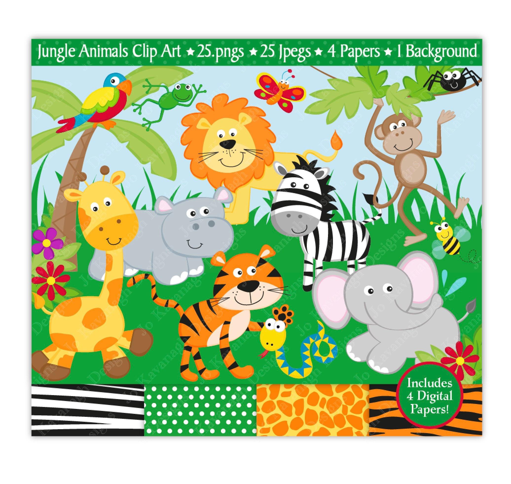 jungle clip art jungle digital papers jungle clipart jungle animals rh etsystudio com clipart jungle animals black and white baby jungle animals clipart