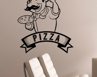 Pizza Decal Pizzeria Logo Vinyl Sticker Window Cook Sign Cooking Art Decorations for Italian Restaurant Cafe Kitchen Dinning Room Decor piz2