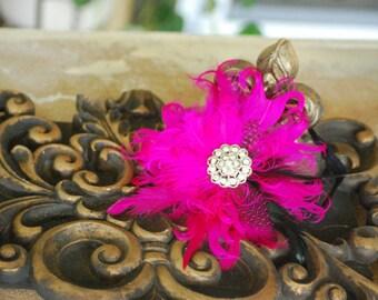 Fuschia Black Guinea Feathers Headband. Elegant Newborn Baby Band, Big Day Spring Wedding Accessory Clip, Statement Christening Baptism Pin