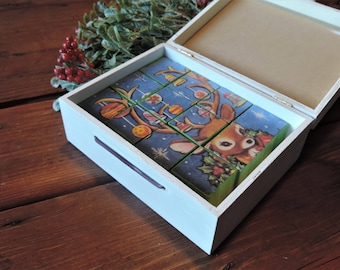 READY TO SHIP Puzzle Block set of 12 in box, vintage Christmas card puzzle, handmade blocks, handmade Christmas gift, Christmas keepsake box
