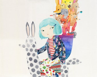Adventure lama A3 print - watercolour illustration print - blue hair girl riding lama