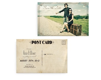 """Photo save the date, Save the Date Card,  Save the Date Postcard, Vintage Save the Date Card - the """"Rose"""""""