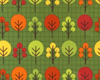 "Fat Quarter (18""x22"") ONLY of City Centre Trees on Green From Robert Kaufman"