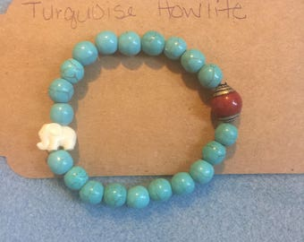 Turquoise Howlite with Red Jade and Elephant Healing Bracelet