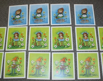16 Edna Vierra Prints (Group Lot of 16) Donald Art Co 1970 Retro Mid Century Lithograph Picture Boy and Girl Children Garden Flowers