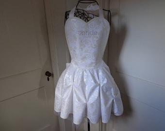 Bride White Floral Apron
