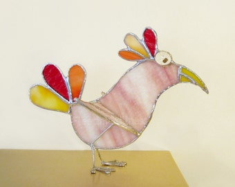 Pink Bird Stained Glass 3D Stand-Up Rainbow Ornament Figurine