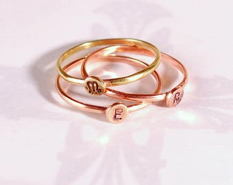 Initialed stacking rings, personalised rings, name rings, personalised jewellery, childrens names, babies names, brothers and sisters