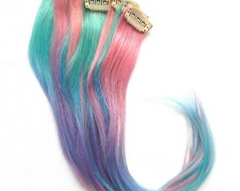 Pastel Cotton Candy Ombre Extensions (1 pc.) : 100% Human Hair, Unicorn Ombre, Pastel Extensions, Clip In Extension, Cotton Candy Ombre