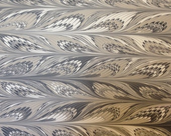 """Marbled Paper, 19"""" x 25"""", variation on Feather pattern"""