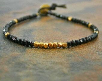 Black Spinel and Vermeil Bracelet Black and Gold Bracelet Stone Bracelet Sundance Jewelry Great Gastby Bracelet