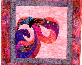 Flamingo Wall Art Quilt Batik Applique Tropical Beach House Florina Coral Purple Orange Pink Dots Original Design