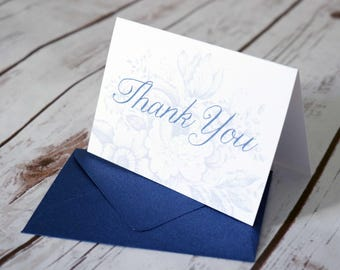 Floral Toile Navy Thank You Cards - Modern Script Font - Wedding Thank You Card
