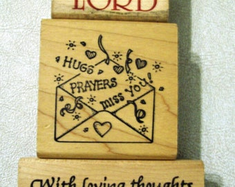 Three (3)  Wood Mounted Rubber Stamps - Religious, Prayers Expressions- Assorted Sizes