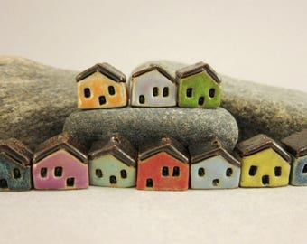 READY TO SHIP...10 (Ten) Miniature House Beads in Stoneware...Candy Mix