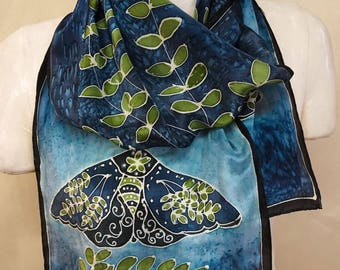Moth on Blue with Green Leaves -  Hand Painted Silk Scarf - Large Silk Scarf 11x60 inches - one of a kind wearable art