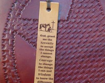 Laser Engraved Serenity Prayer Leather Bookmark
