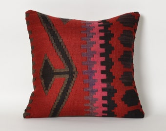kilim pillow, throw pillow, kilim, red, turkish kilim pillow, turkish pillow, pillow cover, pillow, red pillow, red kilim pillow, kilim