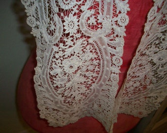 Brussels  lace collar 1800s heirloom hand done