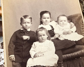 The Siblings - Antique Cabinet Card Potsdam New York