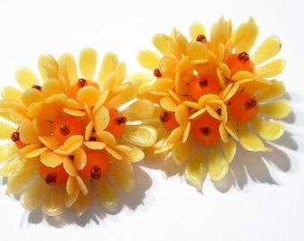 Vintage Soft Plastic Light and Darker Orange Frilly Flower Clip On Earrings 1970's Mid Century Hong Kong