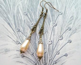 Pearl Drop Earrings Vintage Inspired Art Deco Style Gatsby Wedding Bridal Earrings Roaring 20s Great Gatsby Downton Abbey Flapper Jewelry