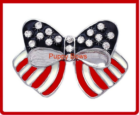 Puppy Bows ~ rhinestone  4th of July American flag  pet hair clip red white blue ~ US Seller