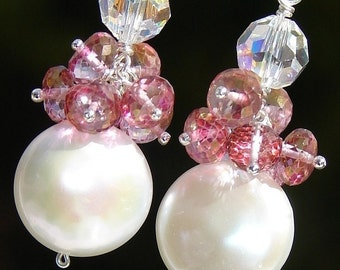 Coin Pearl Earrings, Pink Quartz Rondelles, Superior Quality, Swarovski Crystal on Sterling Silver Lever Backs