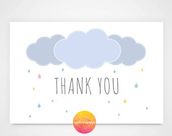 Printable Thank you Card for Baby Shower Invitation/It's a Shower-Rain Cloud themed/Thank you note, card **DIGITAL DOWNLOAD