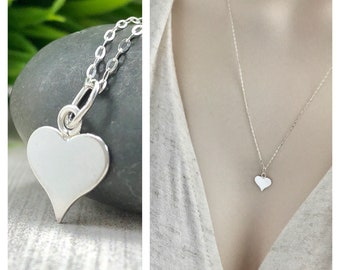 Heart Charm Necklace, Sterling Silver Minimalist Jewelry, Simple Silver Layered Necklace, Delicate, Dainty, Girlfriend, Wife, Anniversary