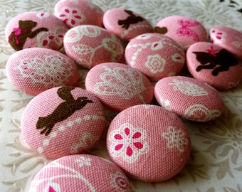 ONLY SET - Large Buttons - Lace Design with Cats, Squirrels, and Designs - Animal Fabric Covered Buttons - Lacy Animal Silhouette Button Set