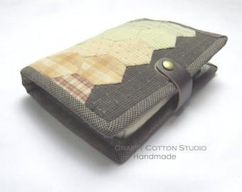 Classic Hexagon Patchwork Cotton External Hard Drive Cover Dark Chocolate + Multicolour