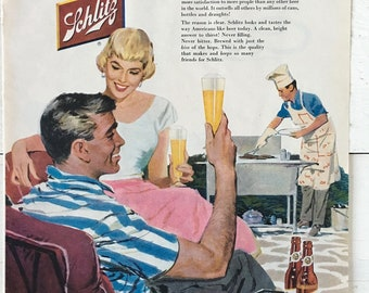 Vintage 1956 Schlitz Beer Ad - Plus ScotTissue Ad - Vintage Beer and Barbecue Ad - Vintage Mom with Baby Ad
