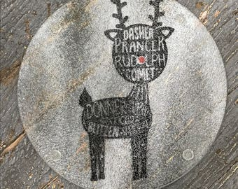 "Cutting Board Trivet 7.75"" Round Glass Vinyled Christmas Reindeer Rudolph"