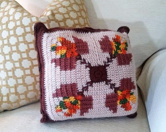 Crocheted Pillow - Granny Chic