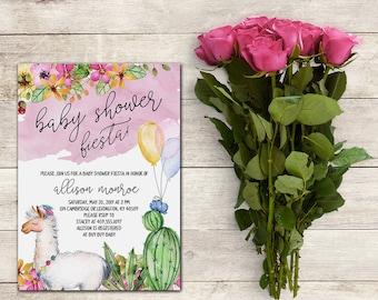 Fiesta Baby Shower Invitation, Llama Baby Shower Invitation, Cactus Baby Shower Invitation, Fiesta Invitation,Watercolor, Printable No. 1046