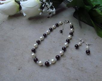 Flower Girl Wedding Jewelry Set - Dark Brown and Ivory