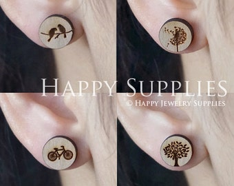 4pcs Mini (SMN95-98) DIY Laser Cut Wooden Earring Charms - SWC Series